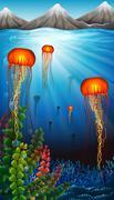 Jellyfish swimming under the ocean - stock illustration