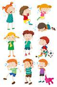 Boys and girls crying Stock Illustration