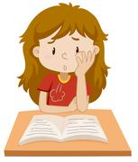 Girl reading book on the table Stock Illustration