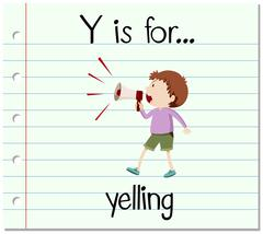 Flashcard letter Y is for yelling - stock illustration