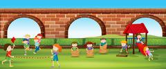 Children playing games in the park Stock Illustration