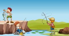 Three boys fishing at the river - stock illustration