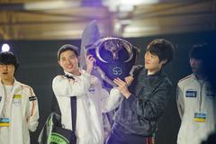 South Korea winner team LAN final WePlay League Season 3 Dota 29 April - 1 Ma Stock Photos