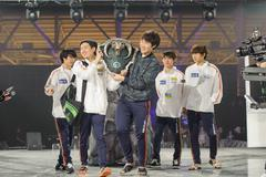 South Korea winner team LAN final WePlay League Season 3 Dota 29 April - 1 Ma - stock photo