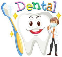 Dentist and clean tooth - stock illustration