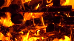 4K close up video of burning firewoods in a fireplace Stock Footage
