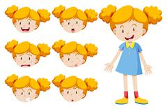 Little girl with facial expressions Stock Illustration