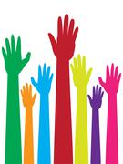 Colorful Raised Hands - stock illustration