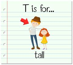 Flashcard letter T is for tall Stock Illustration