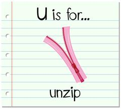 Flashcard letter U is for unzip - stock illustration
