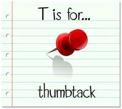 Flashcard letter T is for thumbtack Stock Illustration