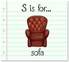 Flashcard letter S is for sofa Stock Illustration