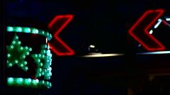 Fun Fair at night flickering lights - stock footage