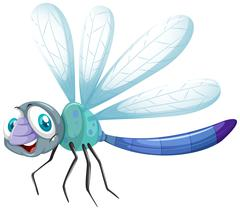 Dragonfly in blue color - stock illustration
