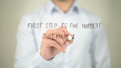 First Step is the Hardest, Just Make it, man writing on transparent screen Stock Footage