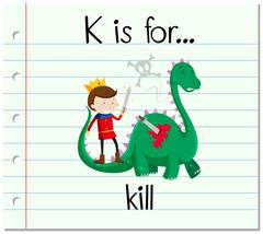 Flashcard alphabet K is for kill - stock illustration