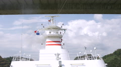 Ship antenna and navigation system on vessel, Panama - stock footage