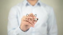 Cloud Server, man writing on transparent screen Stock Footage