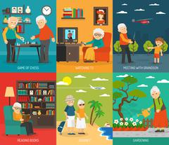 Old People 6 Flat icons Banner - stock illustration