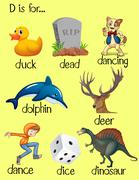 Words begin with letter D - stock illustration