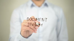 Document Search, man writing on transparent screen Stock Footage
