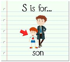 Flashcard letter S is for son - stock illustration