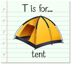 Flashcard letter T is for tent - stock illustration