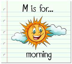 Flashcard alphabet M is for morning - stock illustration