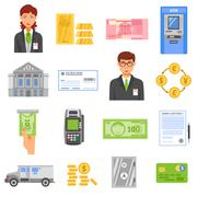 Bank Isolated Color Icons - stock illustration