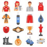 Boxing Ammunition Flat Color Icons Set - stock illustration