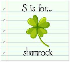 Flashcard letter S is for shamrock Stock Illustration