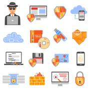 Network Security Color Icons - stock illustration
