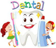 Children with toothbrush and toothpaste - stock illustration