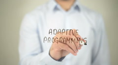 Adaptive Programming, man writing on transparent screen Stock Footage