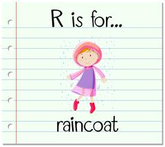 Flashcard letter R is for raincoat - stock illustration
