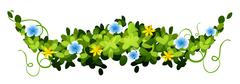 Nature design with leaves and flowers - stock illustration