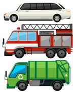 Three kind of transportations Stock Illustration