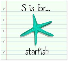 Flashcard letter S is for starfish - stock illustration