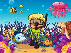 Diver and fish under the sea - stock illustration