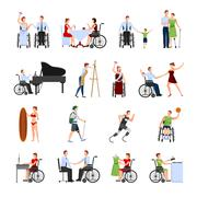 Disabled People Flat Icons Set - stock illustration