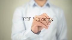 Text Messaging, man writing on transparent screen Arkistovideo