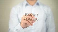 Journey Planner, man writing on transparent screen Stock Footage