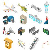 Airport Icons Set Stock Illustration
