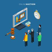 Online Auction Isometric - stock illustration