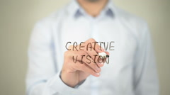Creative Vision, man writing on transparent screen Stock Footage