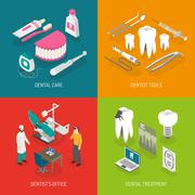 Dentist Concept 4 Flat Icons Square Stock Illustration