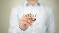 Discount Store, man writing on transparent screen Stock Footage