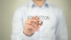 Education Portal, man writing on transparent screen Stock Footage