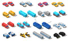 City Transport Isometric Icons Set Stock Illustration
