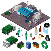 Recycling Center Isometric Design Concept Stock Illustration